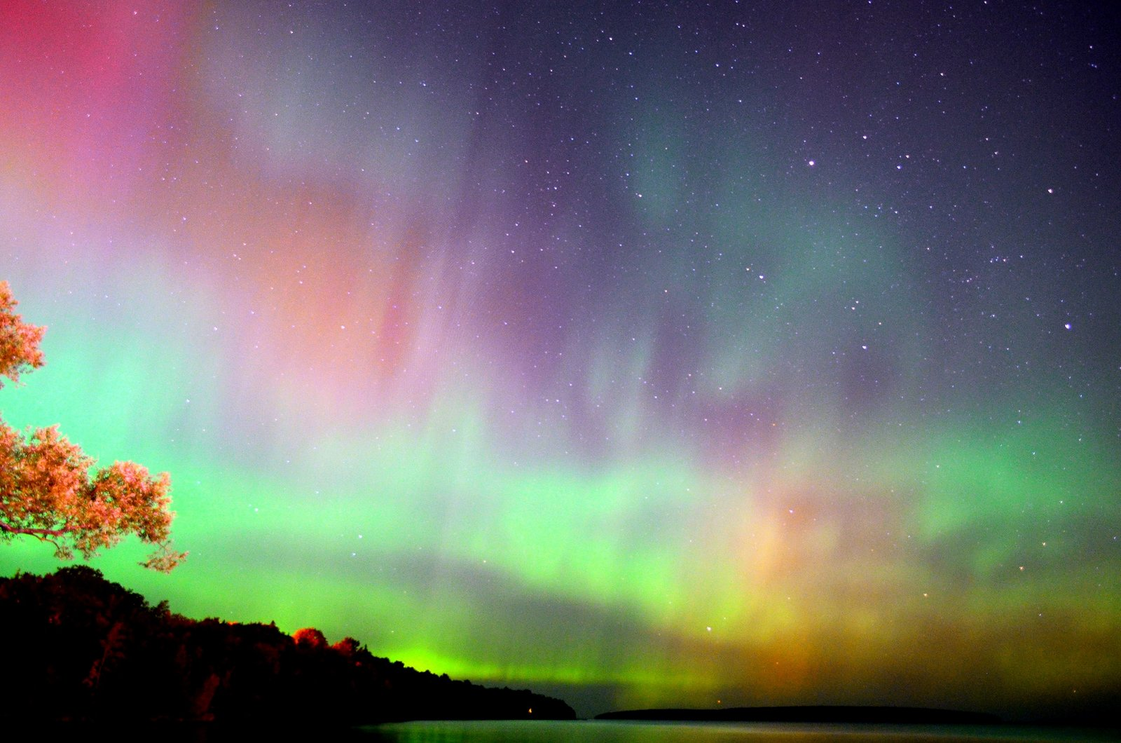 Aurora Borealis. From Bayfield, Wisconsin on the south shore of Lake Superior by Katrina Werchouski
