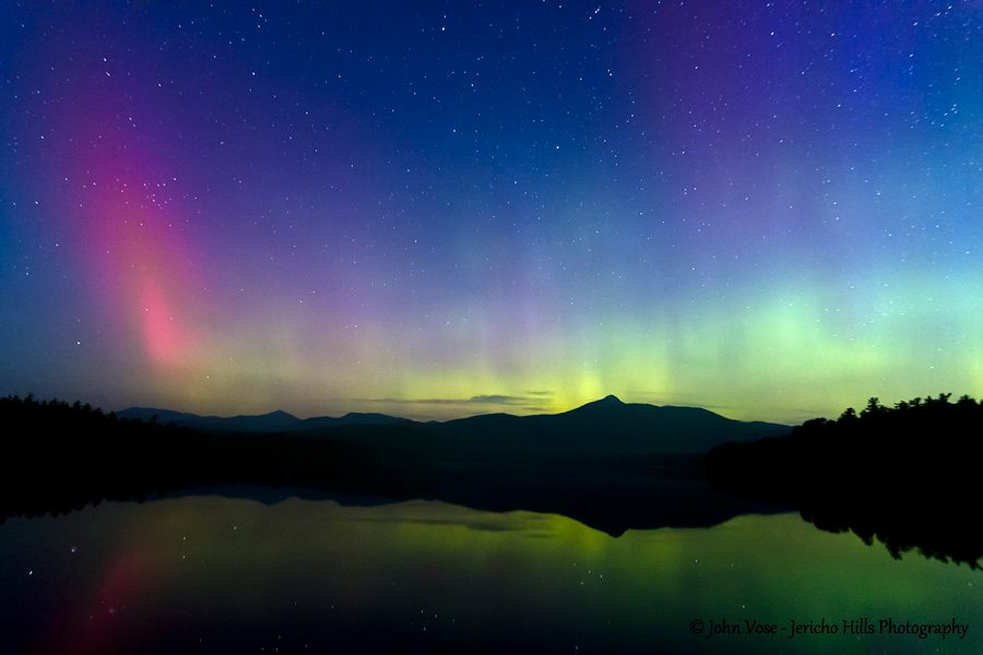 Aurora Borealis. Near Mt. Chocorua in Tamworth NH by Jericho Hills Photography